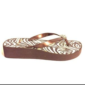 Brighton Wedge Platform Flip Flops in brown